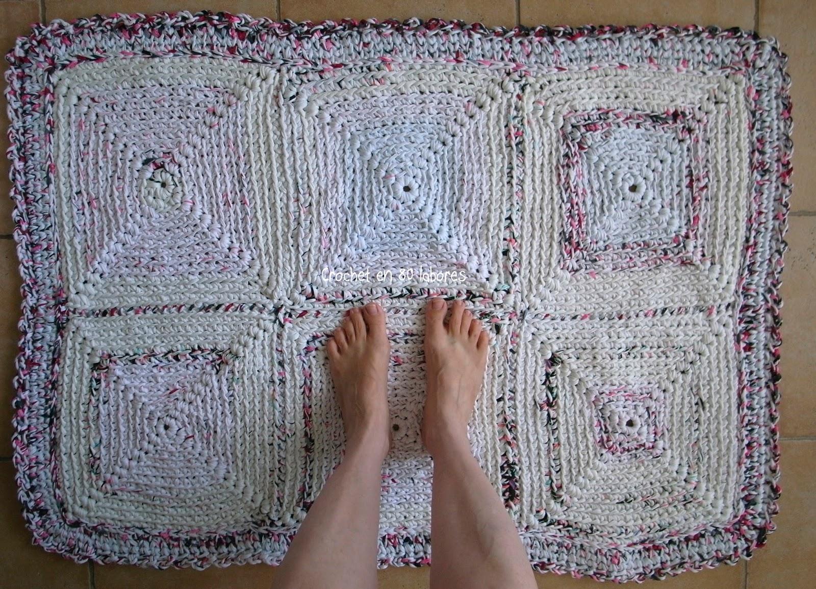 crochet en 80 labores alfombra rectangular de trapillo
