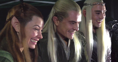 Evangeline Lilly and Orlando Bloom on set of
