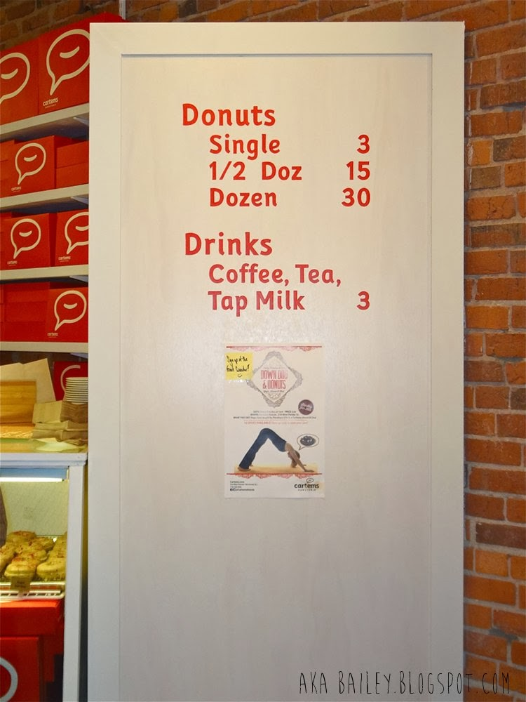 Pricing of donuts and drinks at Cartems Donuterie