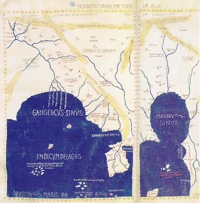El mapamundi de Ptolomeo, bahia de Bengala, año 150