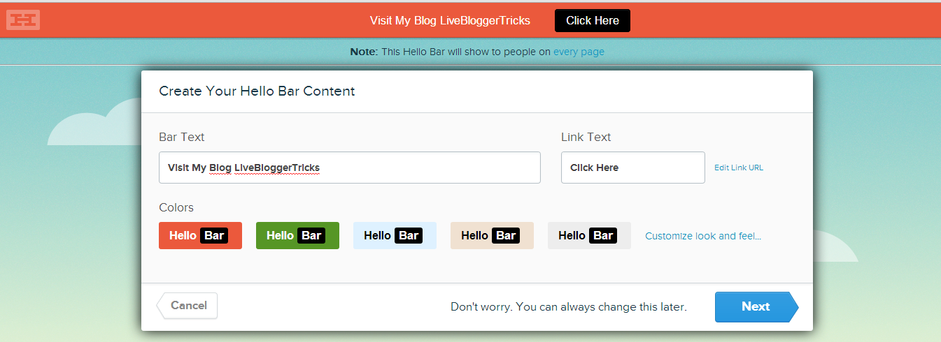 adding hello bar blogger