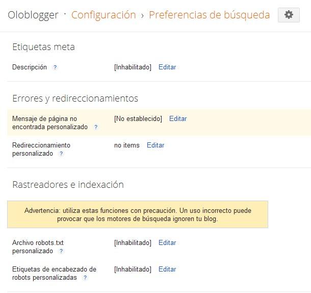Preferencias de búsqueda en Blogger