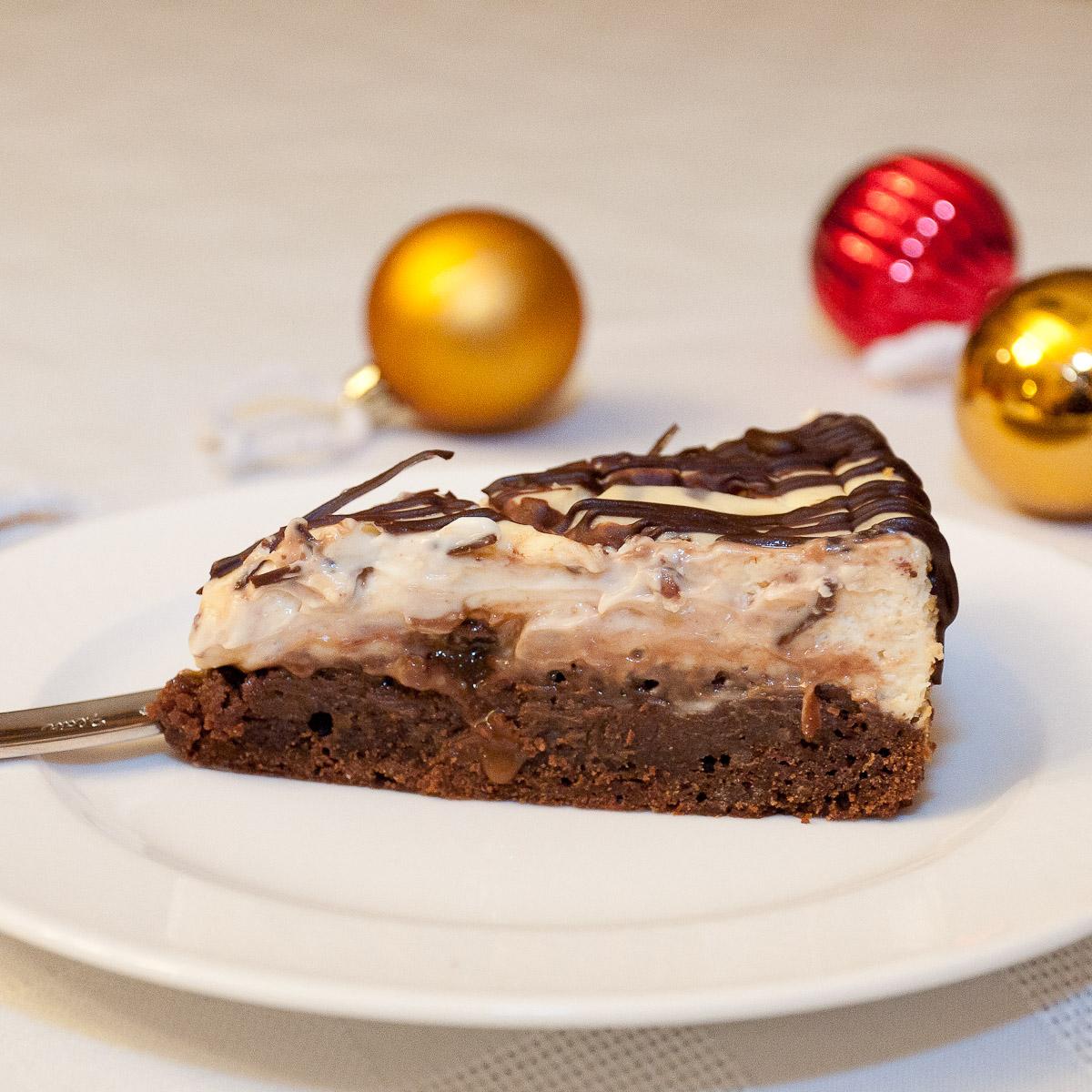 brownie, cheesecake, caramel, rolo, chocolate, holiday, cream cheese