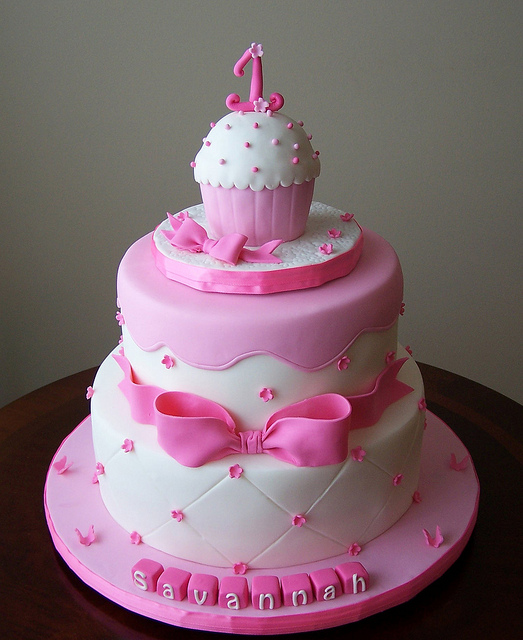 Best Birthday Cake Design For Girlfriend : Cake Place: Pink First Birthday Cake with Smash Cake for Girls