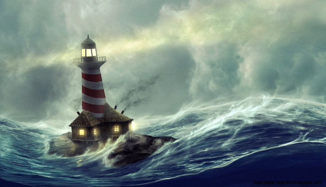 Lighthouse Storm Painting   wallpaper