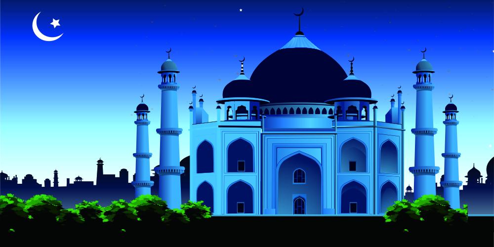 template blue mosque editable vector