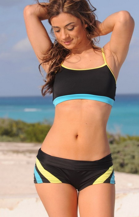 Product Features Package: 1 sports bra bikini top, 1 tankini tank top, and 1 pair of boy shorts.