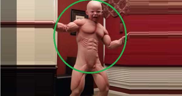 Disfraz de bebé musculoso