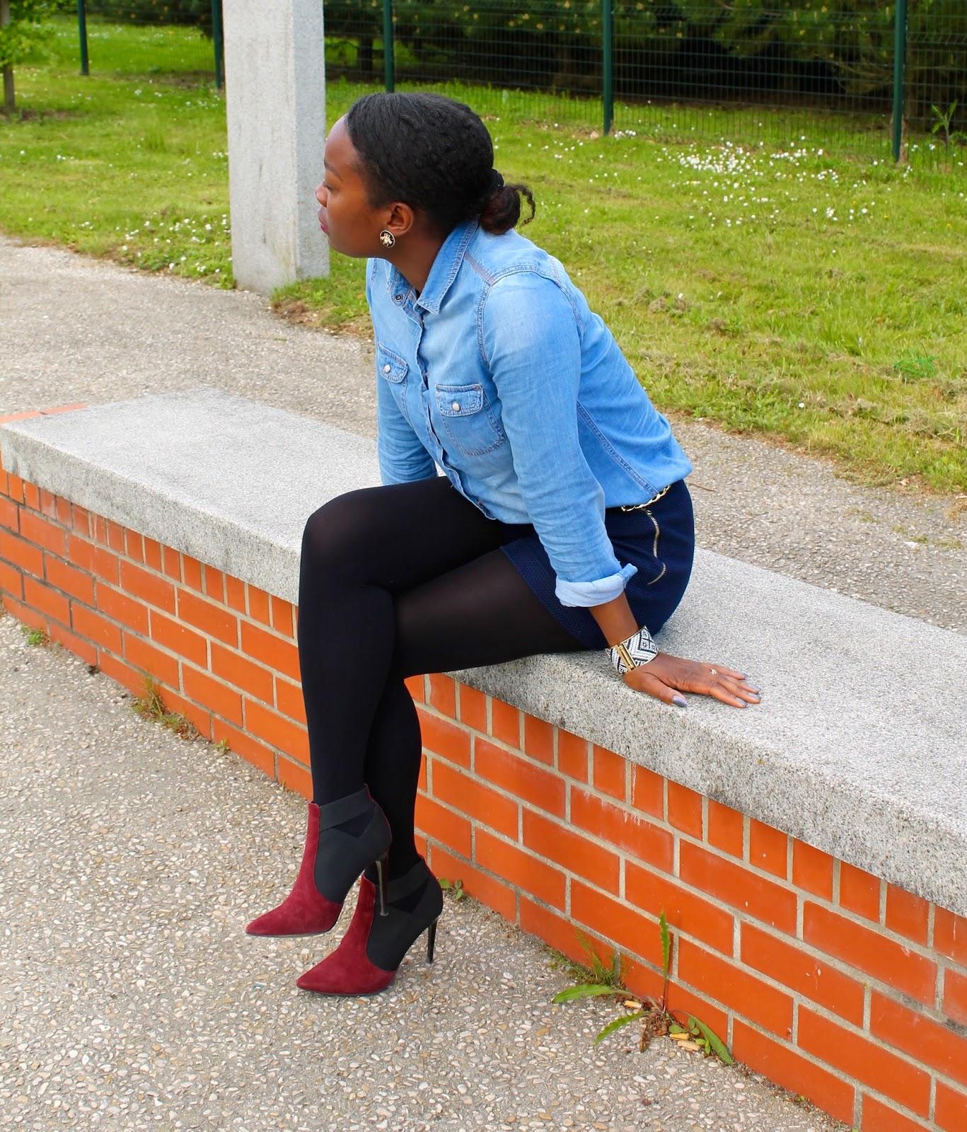 chemiseenjeans-blogmode-cheveuxcrépus-chaussuresrouges-fashionblogger-shortzara