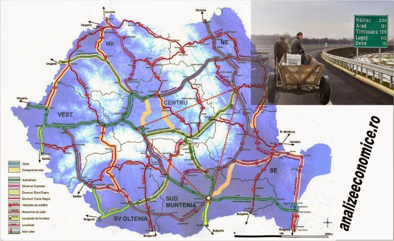 Autostrăzile din România, hartă