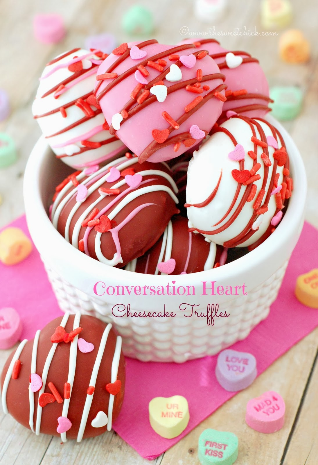 Conversation Heart Cheesecake Truffles by The Sweet Chick