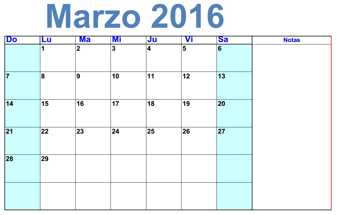 Clendario marzo 2016 para imprimar | 2016 Blank Calendar - calendar en ...