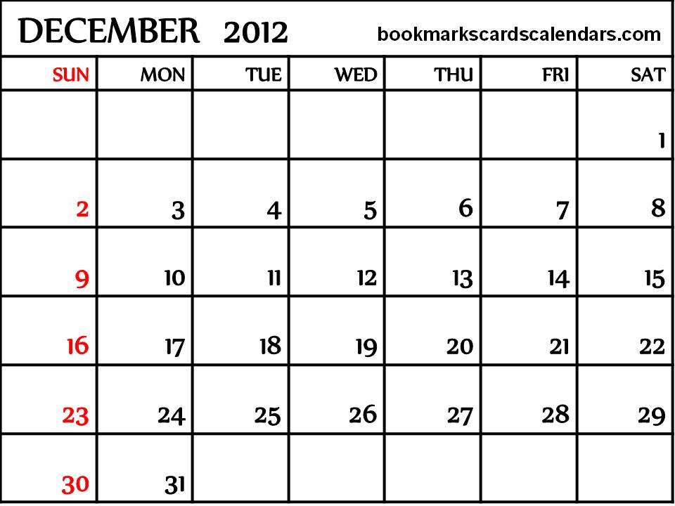 Free Calendars 2015, Bookmarks, Cards: December 2012 Blank Calendar ...