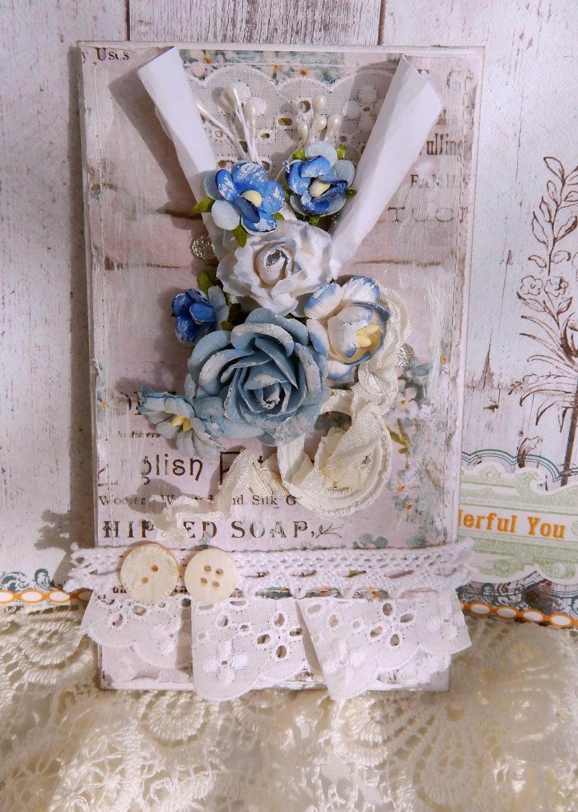 """открытка с цветами и кружевом, стиль """"Шебби"""""""