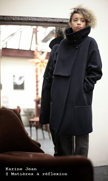 Manteau femme oversize en laine marine Karine Jean