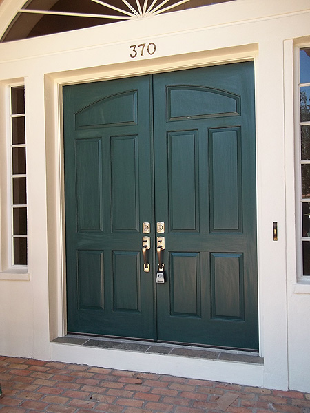 Faux paint front doors to look like wood everything i Dark green front door paint
