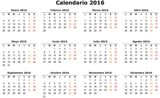 Calendario Horizontal 2016 Vector - Descargue Graficos y Vectores ...
