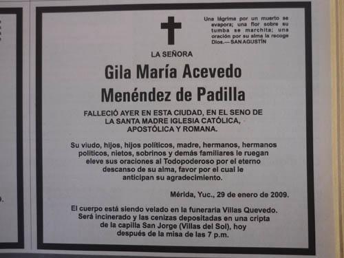 Los men ndez en yucat n january 2013 for Esquelas funeraria el mueble melide
