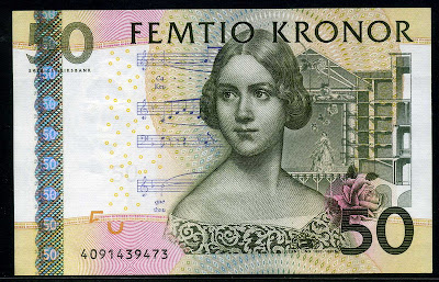 Sweden Currency 50 Swedish Kronor Krona banknote
