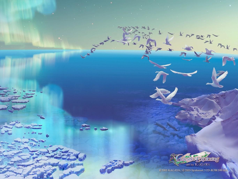 Kagaya Yutaka • Fondo de Pantalla • Aurora,aves al vuelo