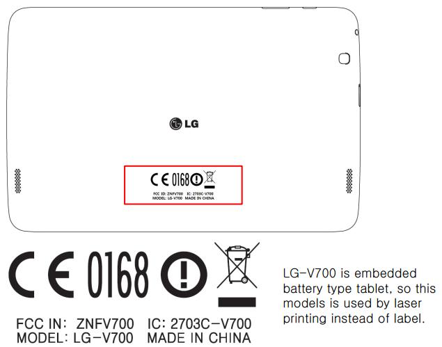 LG V700 FCC diagram
