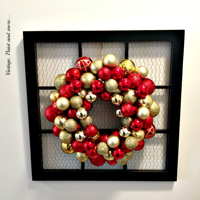 chicken wire window with diy ornament wreath