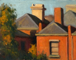 Oil painting of the backs of several Victorian-era double-storey brick buildings.
