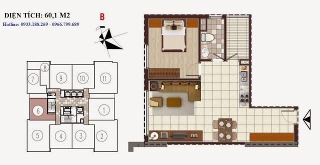 Tòa D Chung cư Golden Silk - Kim Văn Kim Lũ - Vinaconex2, Căn 60,1m2