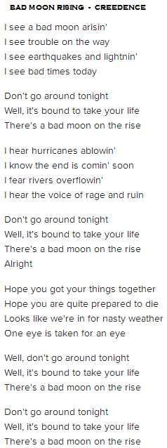 bad moon rising creedence letra