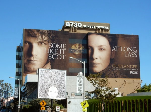 Giant Outlander midseason 1 teaser billboard