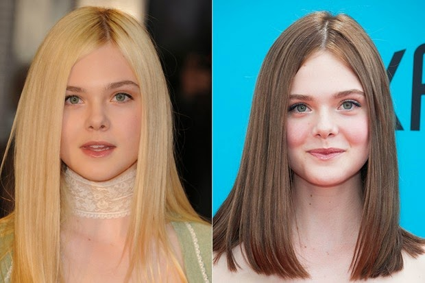 A atriz Elle Fanning que era loiríssima, agora está com os cabelos castanhos