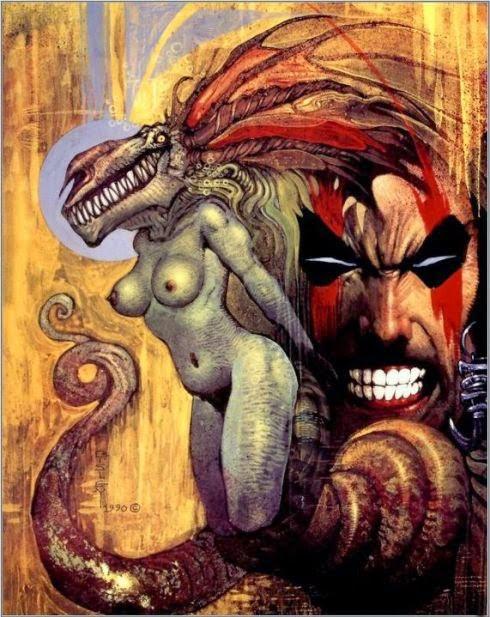 Dessin de Simon Bisley représentant le visage de slaine ou l'on voit une femme demon nue