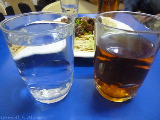 Water and tea of Lan Zhou La Mien