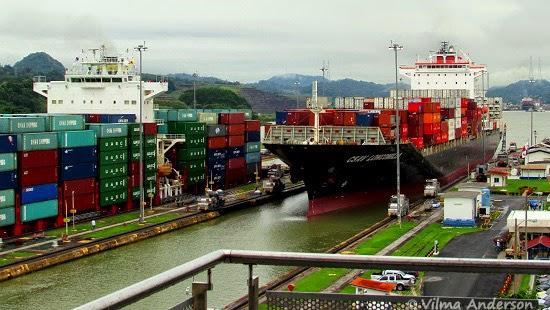 Cargo ship ready to go through the Miraflores Locks. Panama Canal.