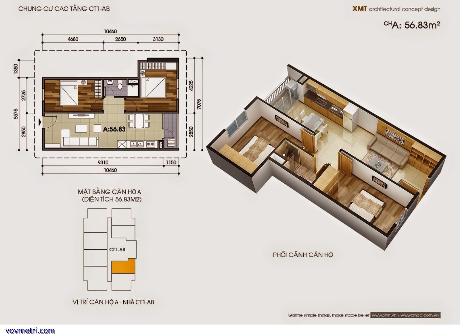 Phối cảnh căn hộ CT1AB - DT 56m2