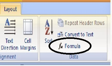 ikon formula ms word