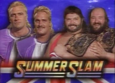 WWF / WWE - Summerslam 1992: The Beverley Brothers battled The Natural Disasters for the Tag Team Titles