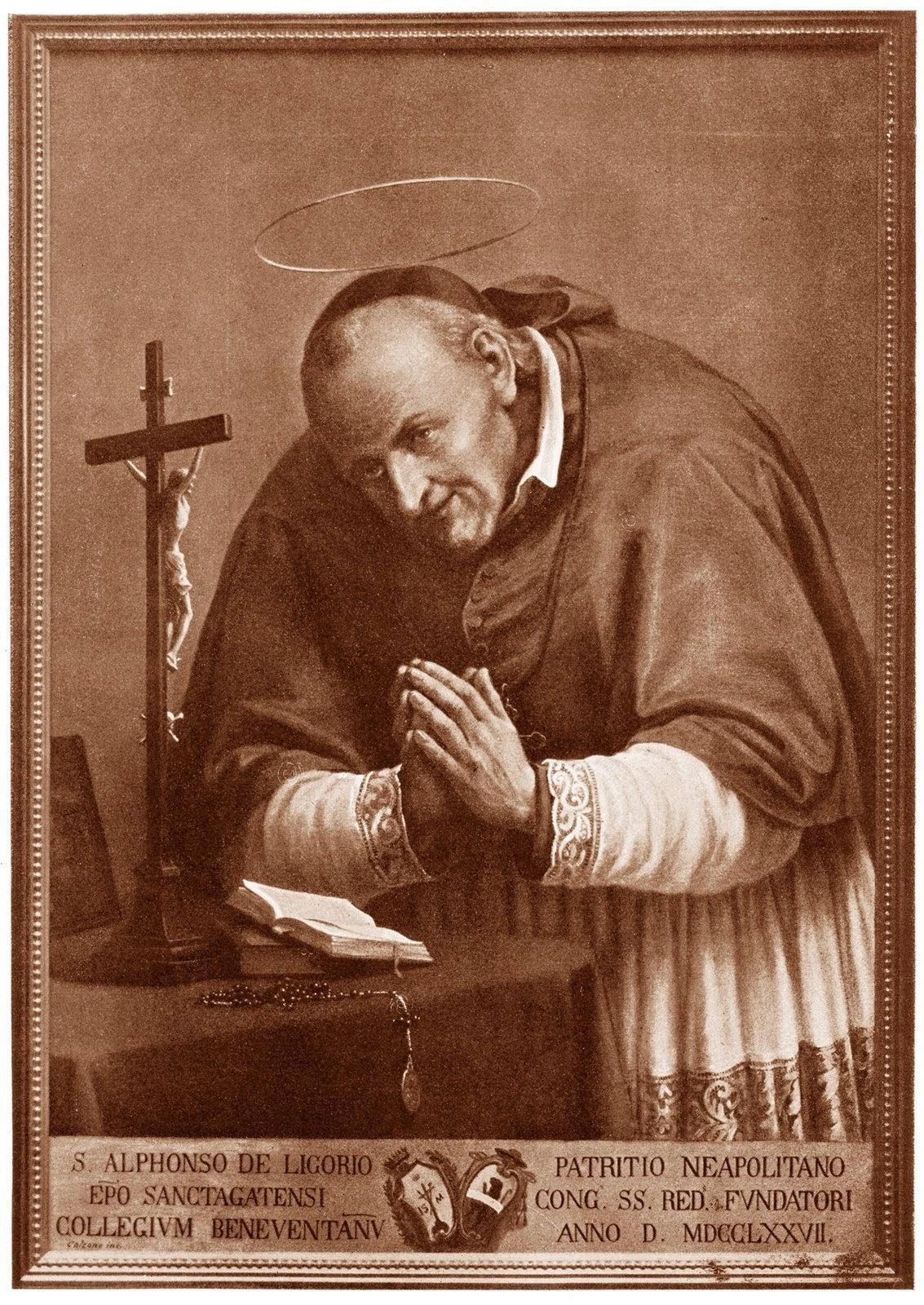 Medalla de S. Alfonso Mª Ligorio / Cristo Redentor - s. XIX S%2BAlfonso
