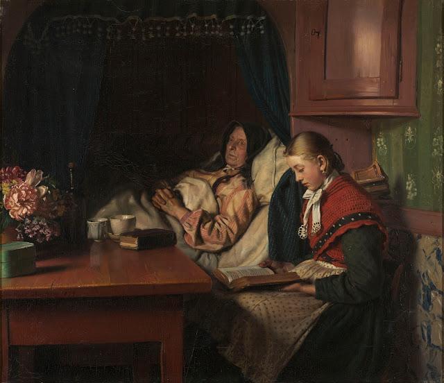 'Ved bedstemoderens sygeseng' af Michael Ancher (1879)