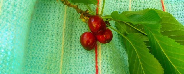manta a ganchillo con cerezas