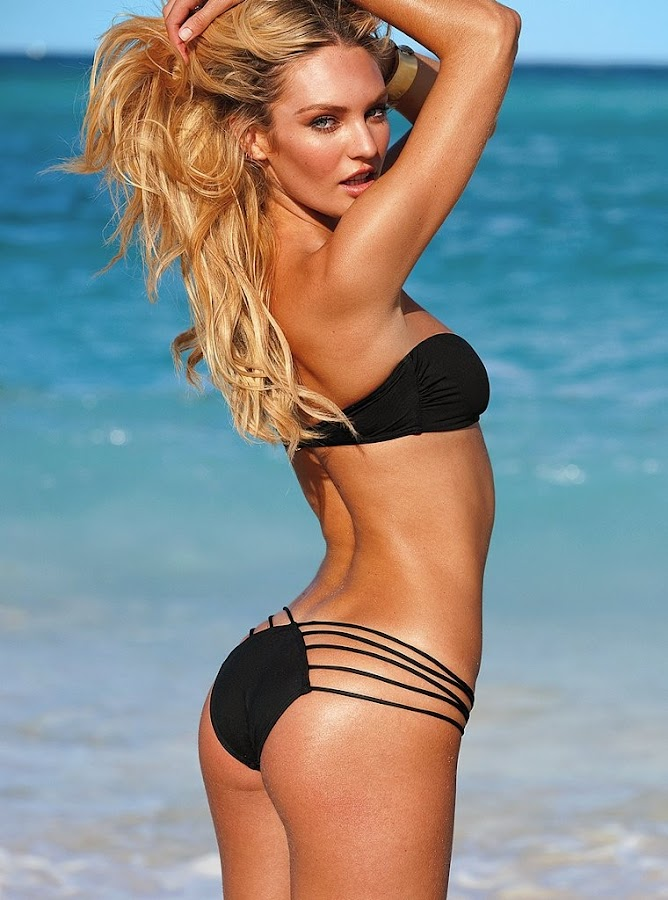Candice Swanepoel in sexy hot black bikini at Victoria's Secret 2012 Bikini Photoshoot