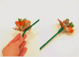 Wrap pipe cleaner around to create a stem for coffee filter flowers