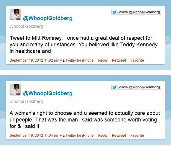 Whoopi Goldbash Romney on twitter @osaseye.blogspot.com