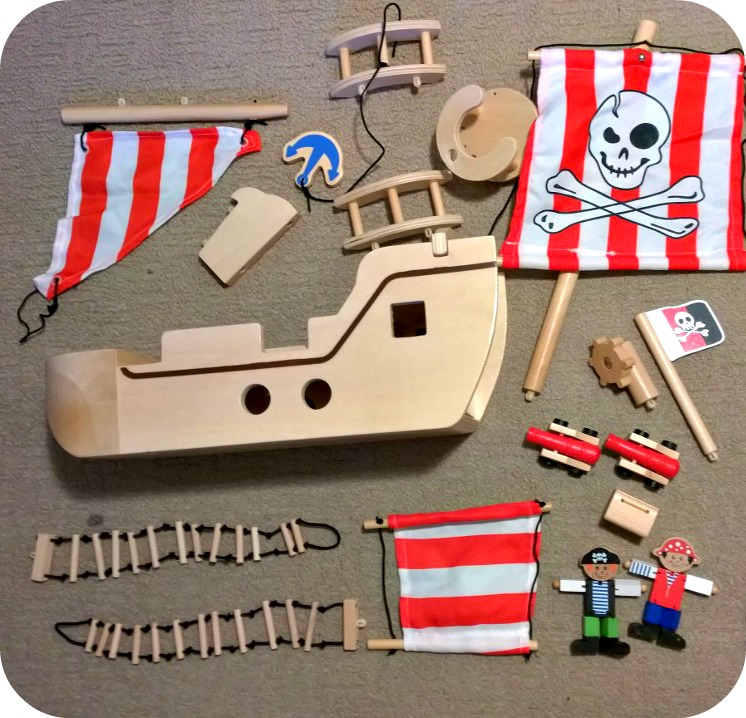 ASDA George Home Wooden Play Pirate Ship