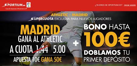 Super cuota 5 para la victoria del Real Madrid al Athletic Liga bbva Sportium 7 marzo