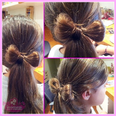 Penteado de laço com o próprio cabelo
