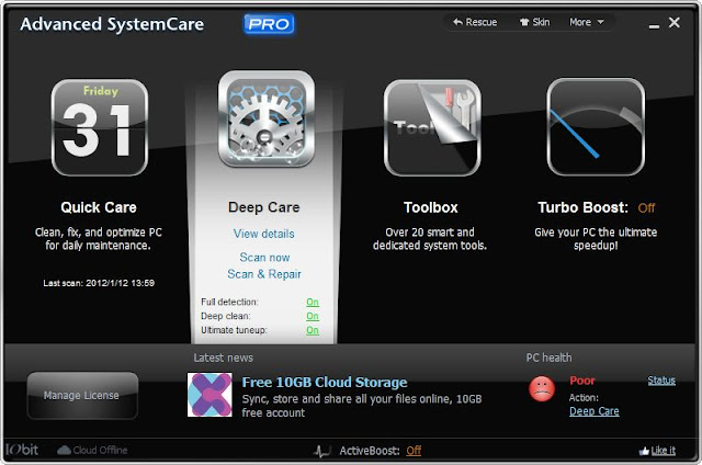 Advanced Systemcare Pro Free Download Full Version With Crack For all Windows 7/8
