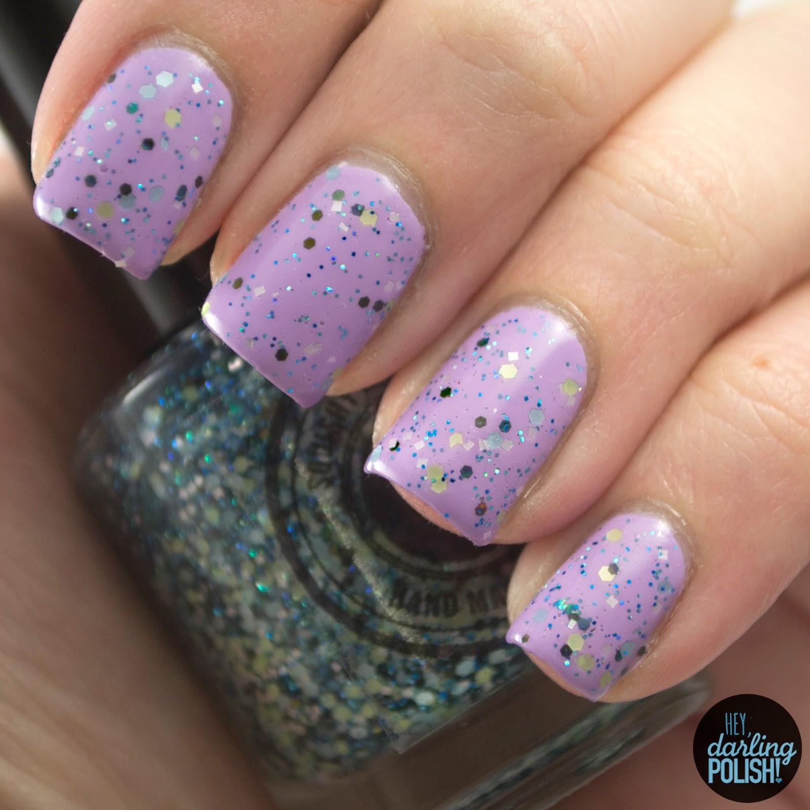 dragon princess, glitter, purple, nails, nail polish, indie, indie nail polish, indie polish, squishy face polish, hey darling polish, swatch