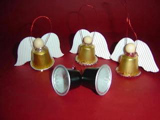 Anjos feitos com copo plástico Decoração de Natal