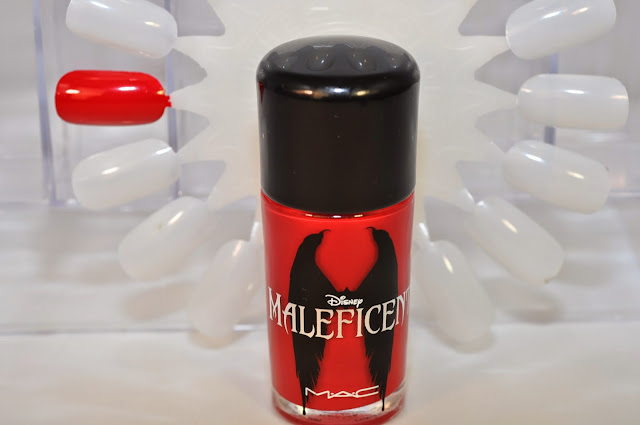 MAC Maleficent nail lacquer in Flaming Rose